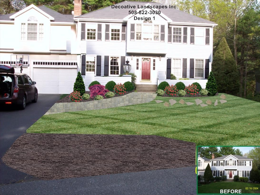 Colonial House Landscaping Landscape Design With Rose And - Home landscape design