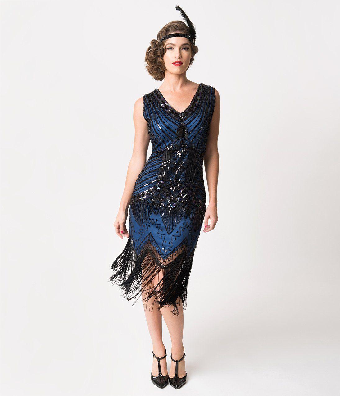 1920s Evening Dresses Formal Gowns Unique Vintage 1920s Deco Navy Blue Black Sequin Veronique Fring 1920s Fashion Dresses 1920s Outfits Purple Flapper Dress [ 1275 x 1095 Pixel ]