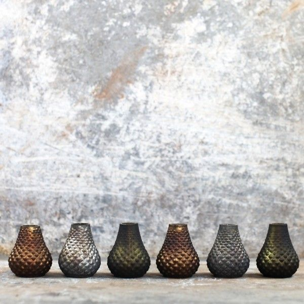 Set Of 6 Mini Vases ($21) ❤ liked on Polyvore featuring home, home decor, vases, green vase, mini vases, miniature vase, amber vase and green home decor