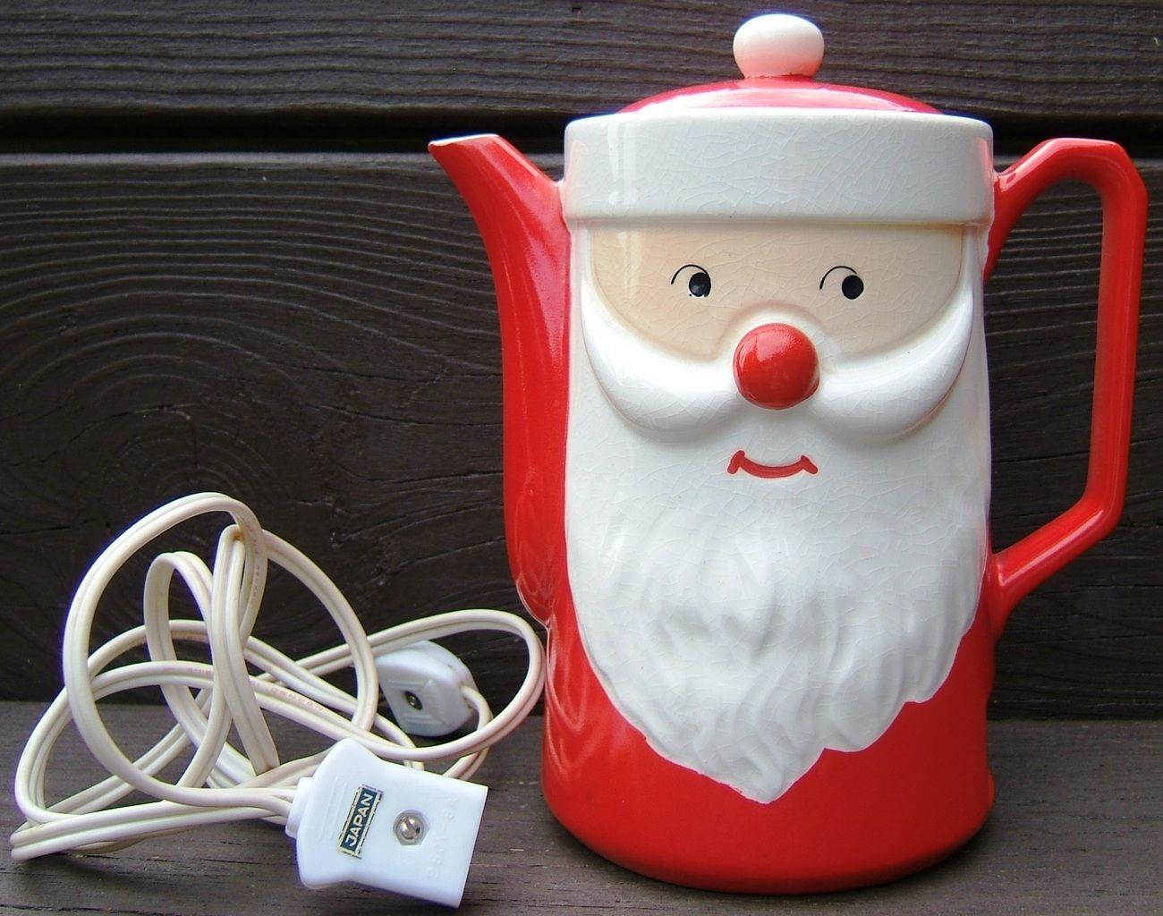 Vintage SANTA CLAUS CHRISTMAS Ceramic Electric HOT WATER POT Dan Brechner JAPAN  http://www.bonanza.com/listings/84874081