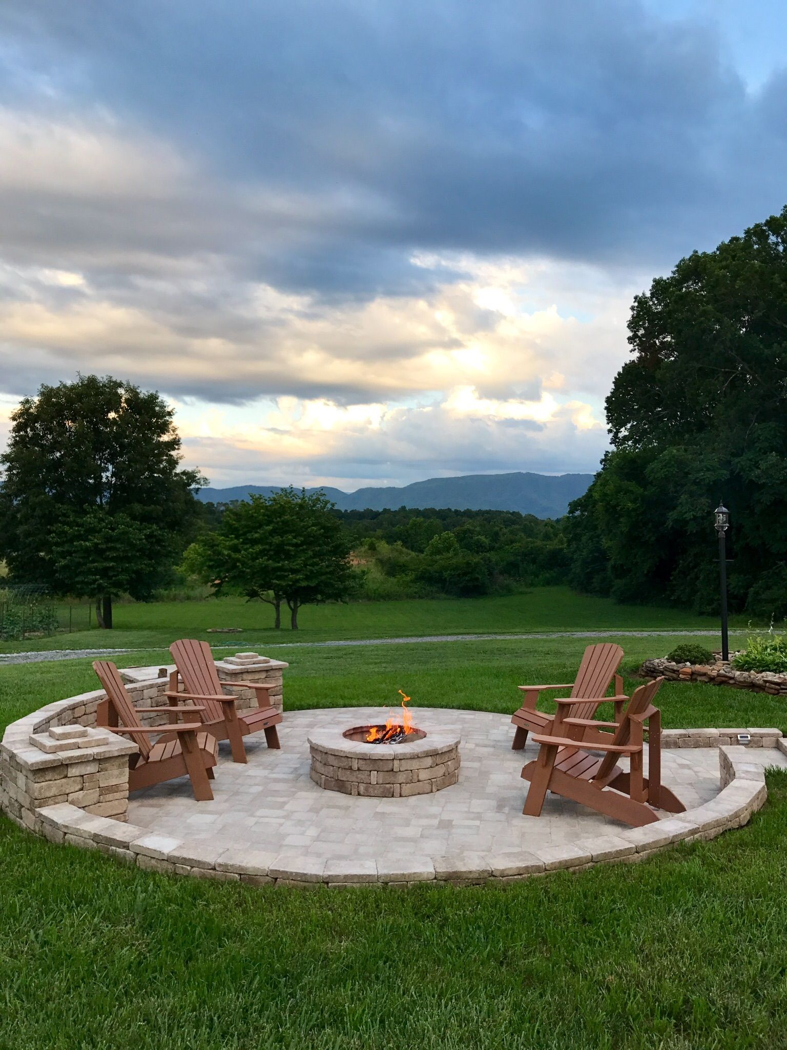 Pinterest Inspired Diy Fire Pit With View Of The Beautiful Smoky Mountains Outdoor Designs Outside Pits
