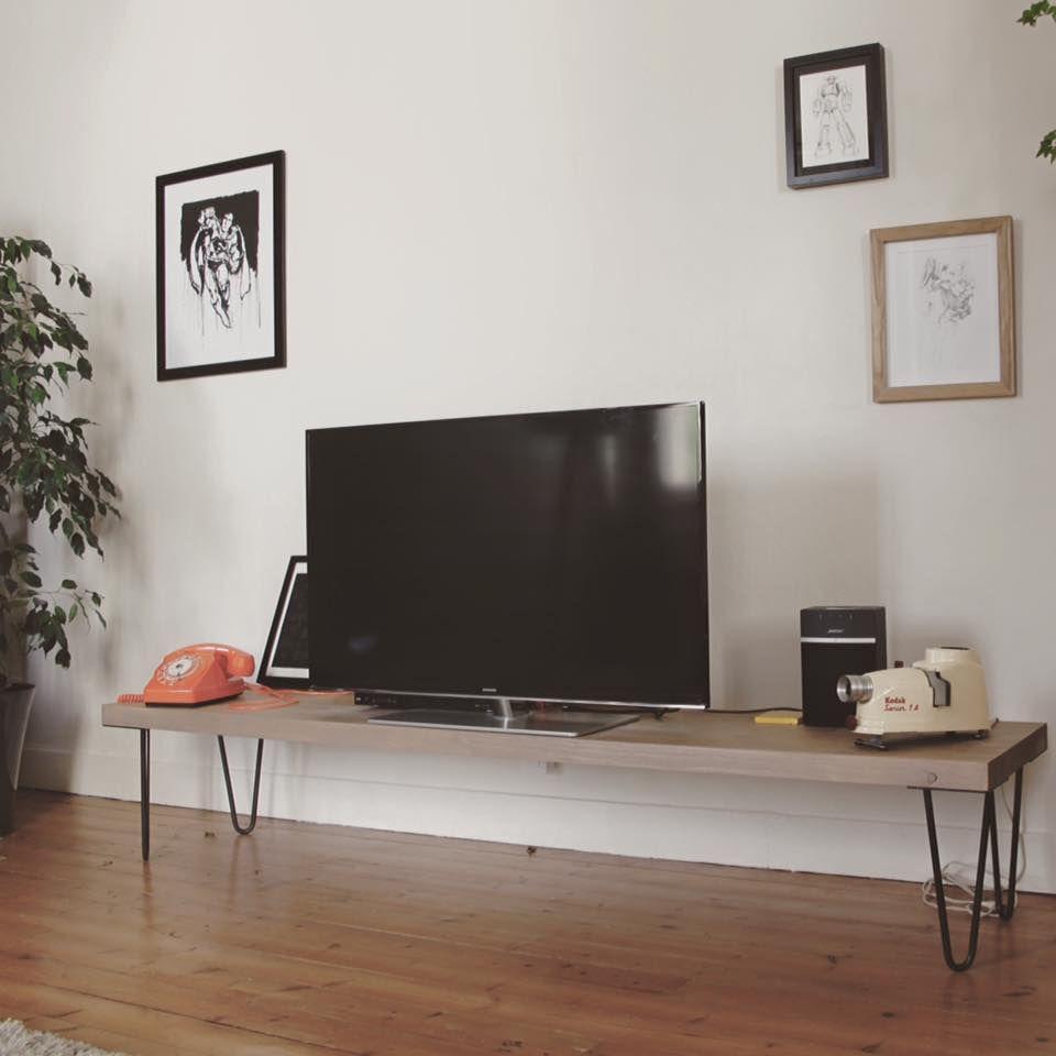 Joli Meuble Tv Avec Des Pieds En Pingle Ripaton 30 Cm  # Meuble Tv Home Cinema Industriel Diy