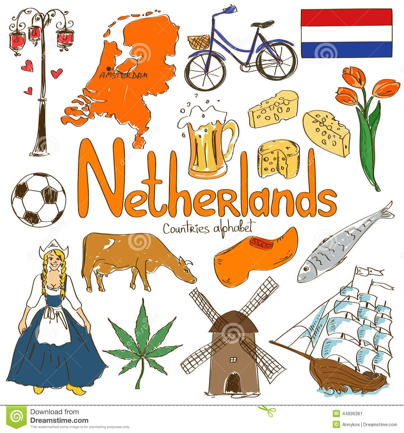 Collection Netherlands Icons Fun Colorful Sketch Countries