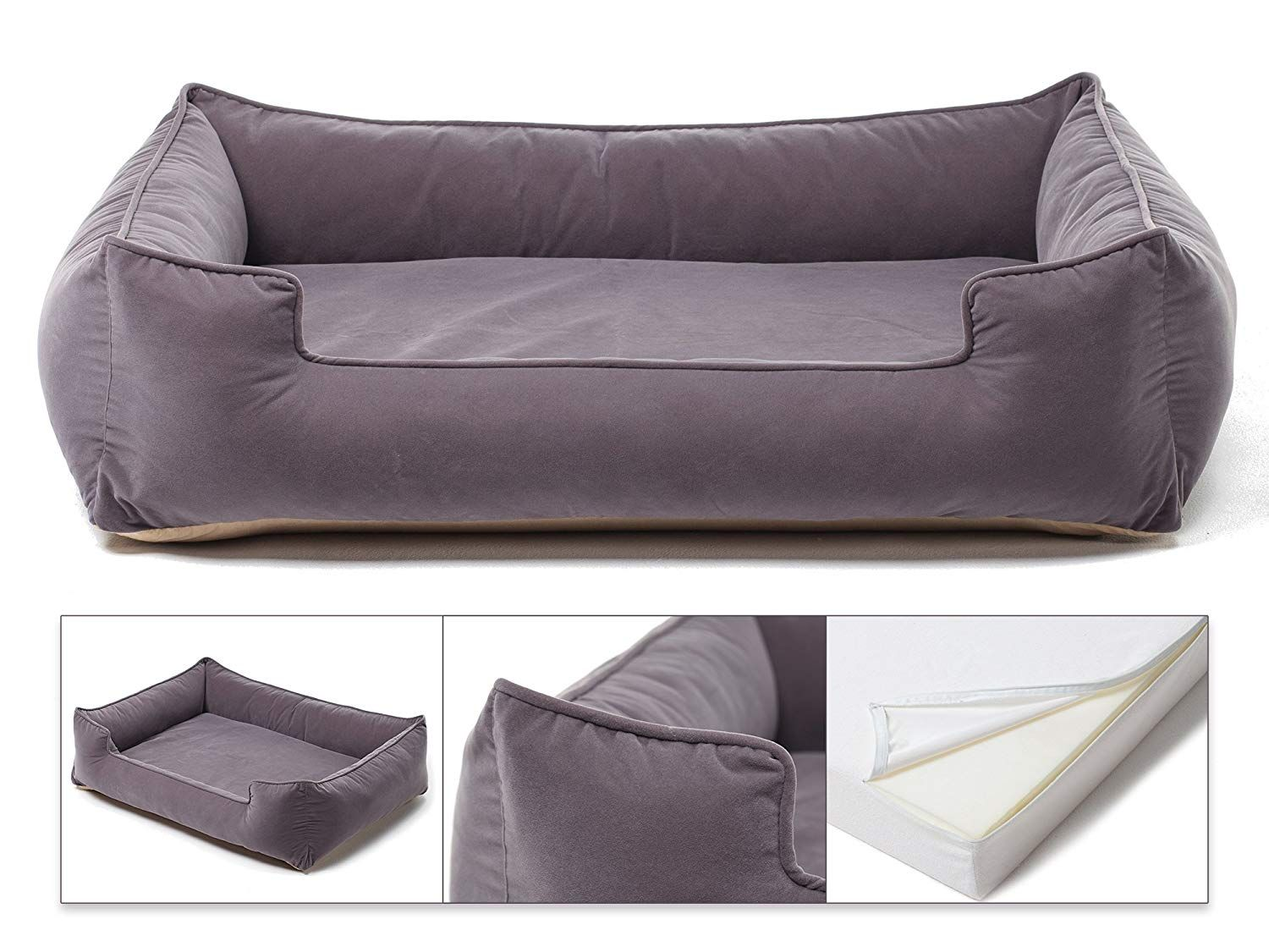 Petsbao Premium Orthopedic Dog Bed and Lounge with Solid