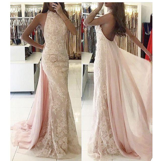 verschiedene Stile gute Qualität großer Verkauf Schöne Abendkleider Lang Günstig Spitze Rosa Meerjungfrau ...
