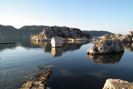A Lycian Tomb in the water at Kale