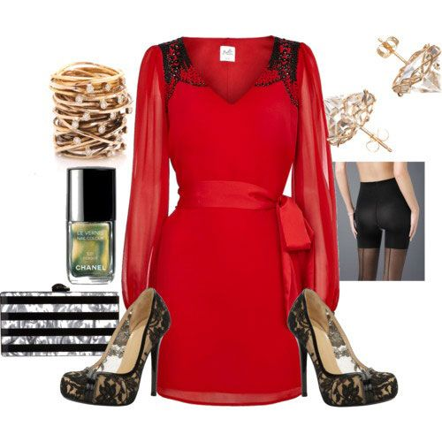 Casual Christmas Party Outfits 2013/ 2014 | Polyvore Xmas Costumes Ideas |  Red dress with black shoes. - Casual Christmas Party Outfits 2013/ 2014 Polyvore Xmas Costumes