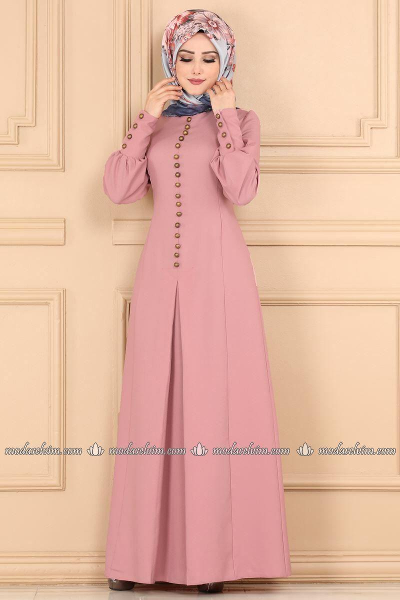 Aksesuar Düğmeli Pileli Elbise ASM2151 Pudra