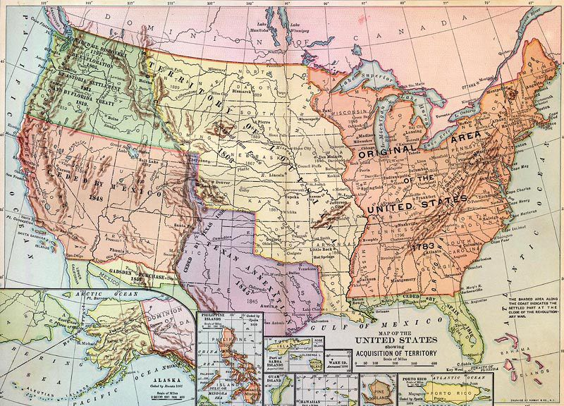 Advertisements Westward Expansion And Manifest Destiny - 1890 map of us