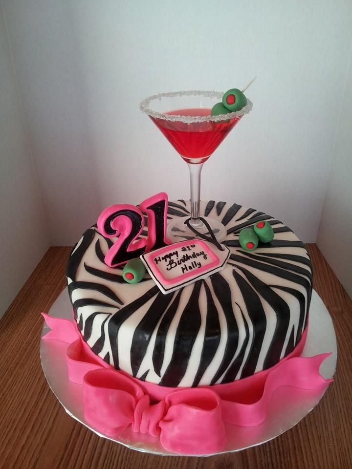 Fine 21St Birthday Cake Hot Pink And Zebra Striped Cake With A Real Birthday Cards Printable Nowaargucafe Filternl
