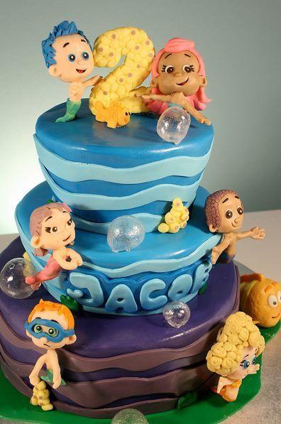 Three tier ocean cartoon theme birthday cake for two year old boy