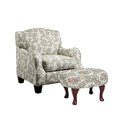 Home Square 2 Piece Floral Accent Chair And Foot Stool Set Accent