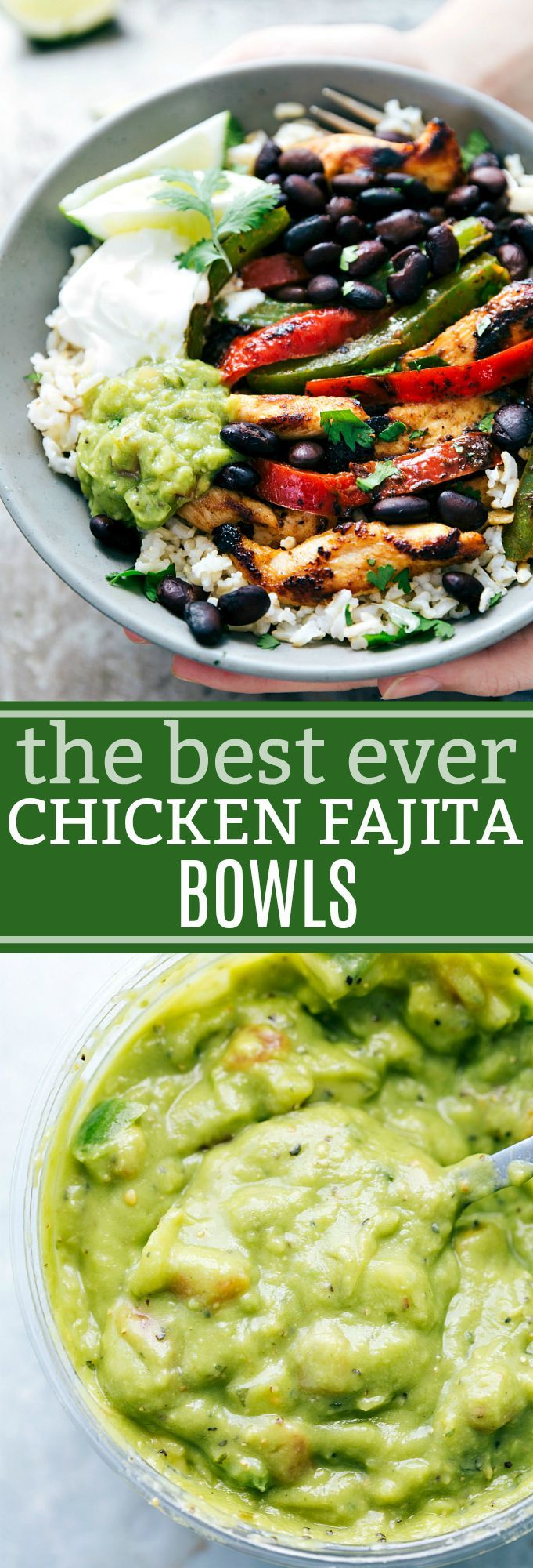 The ultimate BEST EVER Chicken Fajita Bowls! Delicious and so simple to make! via chelseasmessyapron.com #chickenbreastrecipeseasy