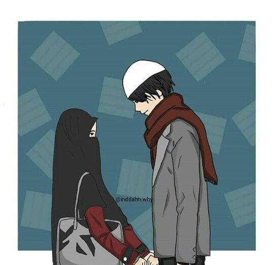 Kumpulan Gambar Kartun Muslimah Pasangan Romantis