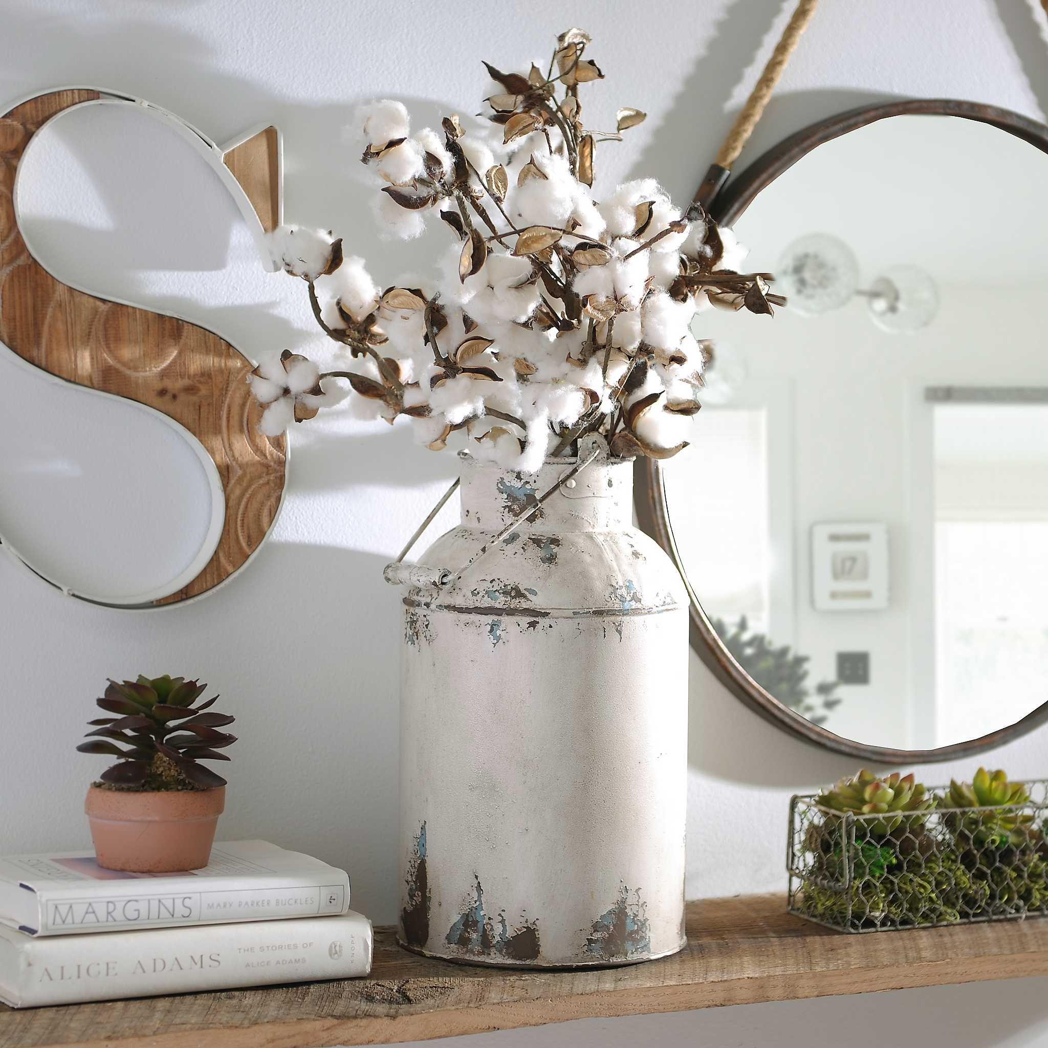 Cream Milk Can Metal Vase Handmade home decor, Milk can