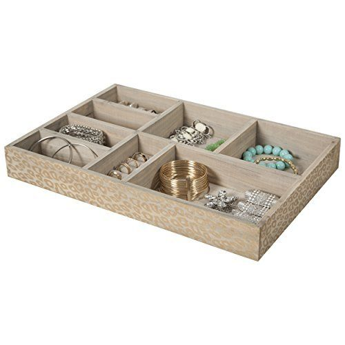 8 Section Jewelry Tray Drawer Organizer Storage Tray Beige Print