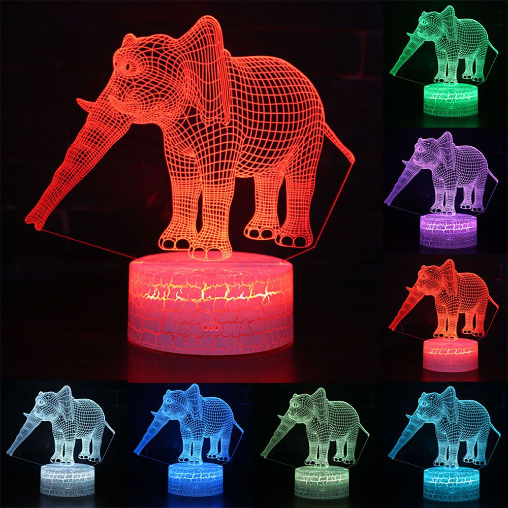 3d Elephant Illusion Led Table Bedroom Lamp 7 Colors Change Touch Night Light Bedroom Lamps Lamp Night Light