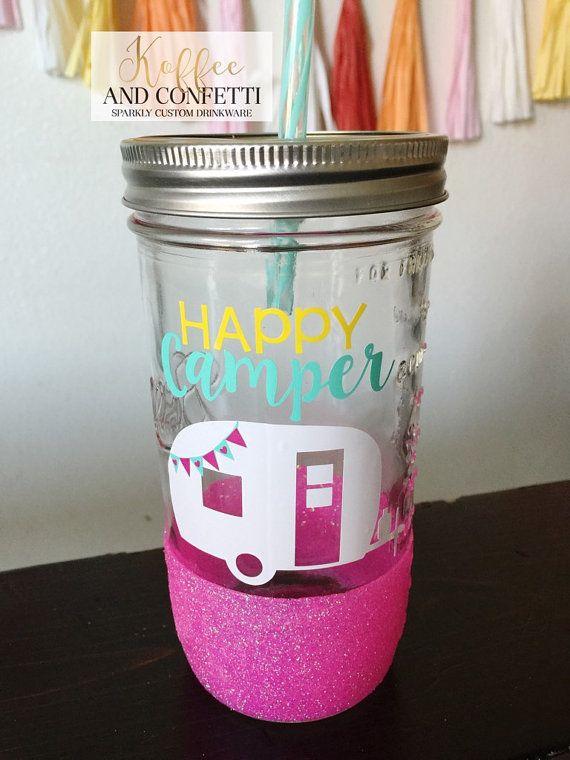 Happy Camper // glitter dipped mason jar by KoffeeAndConfetti#koffeeandconfetti #glitterdippedtogo #glitterdippedmug #glitterdippedcoffeecup #glitterdipped #glittermasonjar #glittertumbler #customcup #customtumbler #smallshop #etsy  #happycamper #campingcup #campingtumbler #masonjar #camper