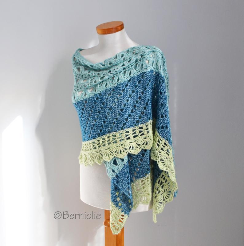 border PIMA Knitted shawl pattern with crochet trim pdf