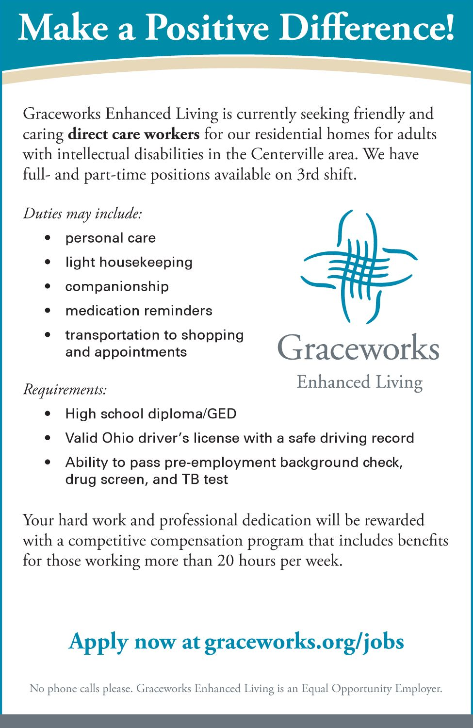 Work with us at Enhanced Living! Enhancement