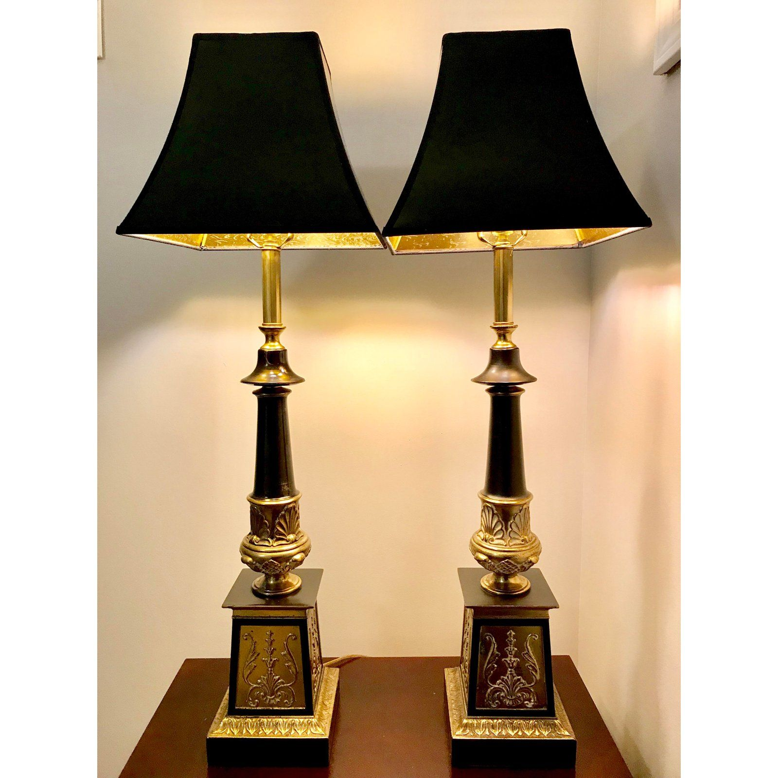 French Empire Style Brass And Black Column Lamps A Pair For Sale Image 9 Of 9 Lamp Living Room Design Decor Lamps Living Room Living room lamps for sale