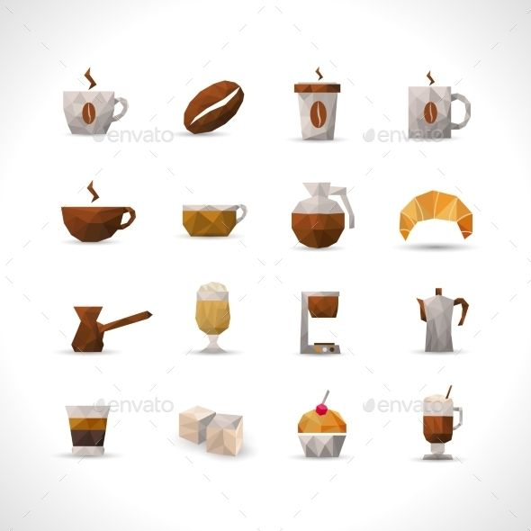 Polygonal Coffee Icons Set — Vector EPS #americano #pot • Available here → https://graphicriver.net/item/polygonal-coffee-icons-set/11736373?ref=pxcr
