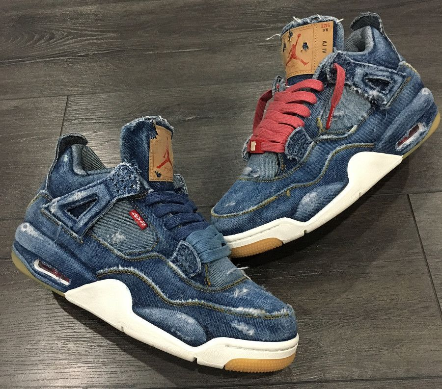 best loved 3b69c e88cf Levis x Air Jordan 4 Retro Distressed Denim (jeans déchiré) (4)