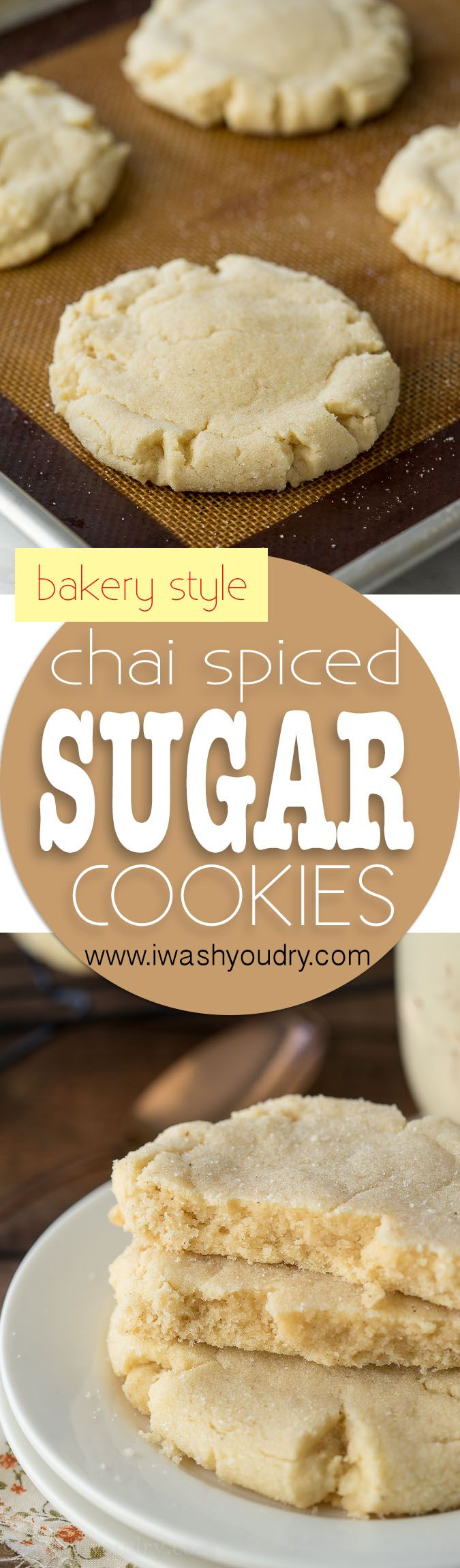 These Chai Spiced Bakery Sugar Cookies are just like Paradise Bakery Sugar Cookies but filled with a hint of chai spices. So soft and buttery tasting!