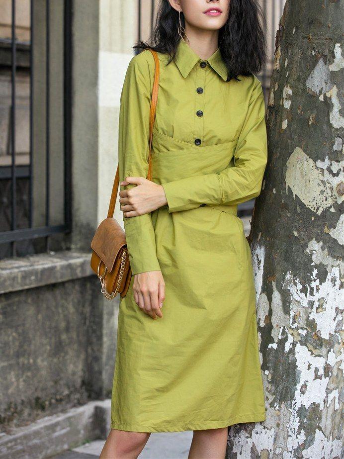 Crossing Lace Up Pure Color Blouse Dress_Long Sleeve Dress_DRESSES_Wholesale…