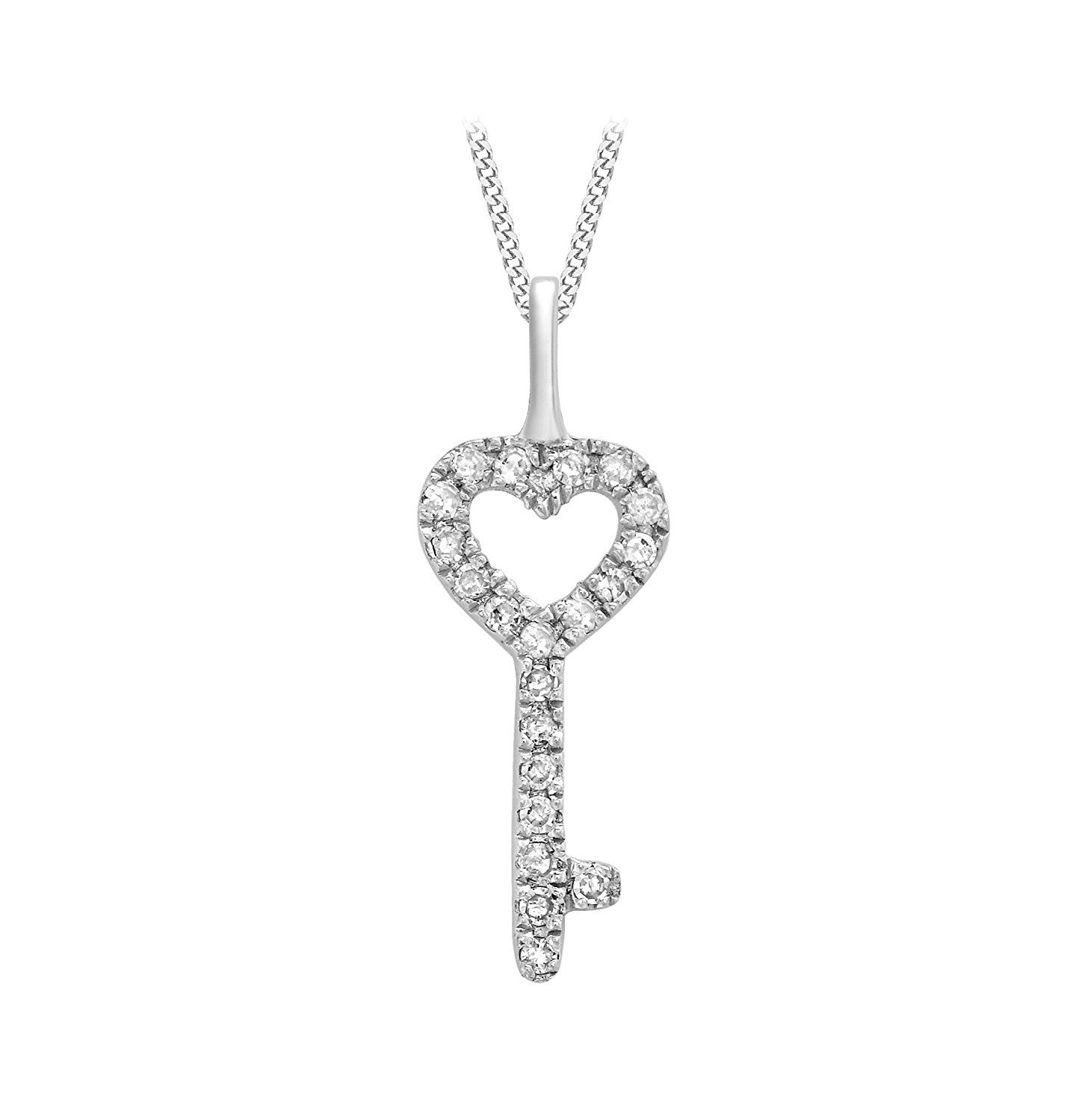 Carissima Gold 9ct White Gold Diamond and Aquamarine Heart Cross Over Pendant on Curb Chain Necklace of 46cm/18 YpaKw