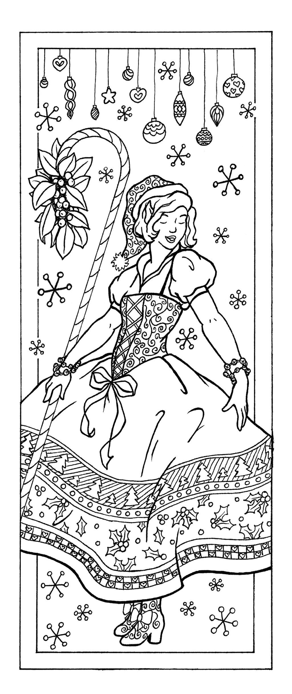 Christmas Elf Coloring Page Bookmark Fits One Half