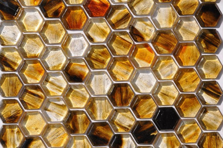 Fusion Glass Autumn Brown Hex Pattern 07f Glass Collection Glass Glass Tile