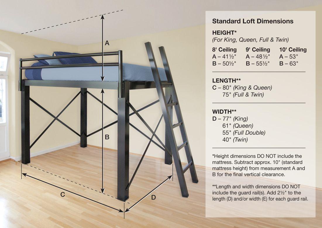 Ceiling Bedroom High Beds View Dimension Diagram Loft Dimensions  # Schema De Meuble Dimension
