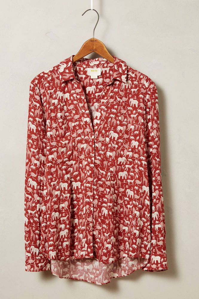 Anthropologie Casia Henley Size 2, Red Safari Animal Print Top Blouse By Maeve #Maeve #ButtonDownShirt #Career