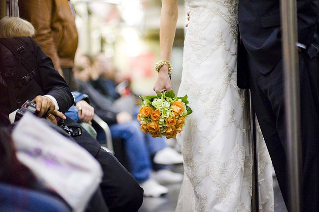 wedding party takes to the subway... | photo by Augie Chang via kate_wirth on Flickr | Sole Satisfaction