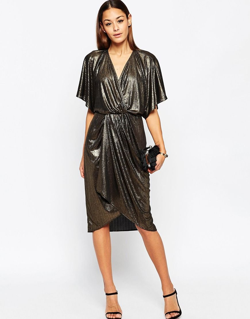 Image 4 of ASOS Metallic Wrap Kimono Midi Dress | My Style ...