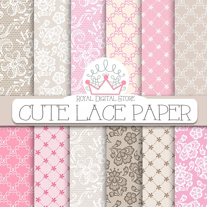 "Lace Digital Paper: "" Cute Lace Digital Paper"" with lace background, lace…"