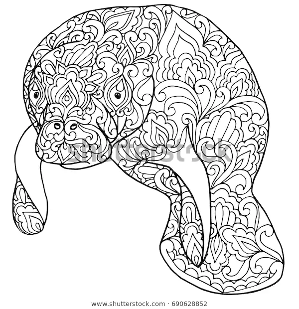 Zentangle Doodle Patterned Fantasy Manatee Sea Stock Vector Royalty Free 690628852 Animal Coloring Pages Doodle Patterns Cow Coloring Pages