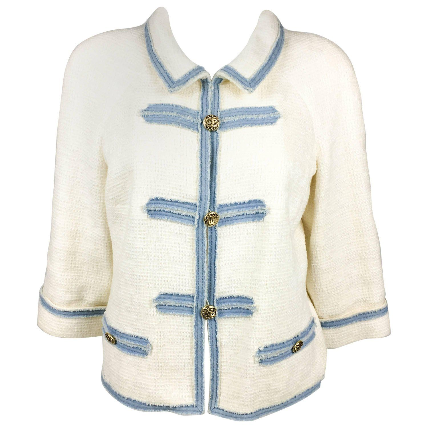 2007 Chanel White Boucle Denim Trimmed Jacket With Logo