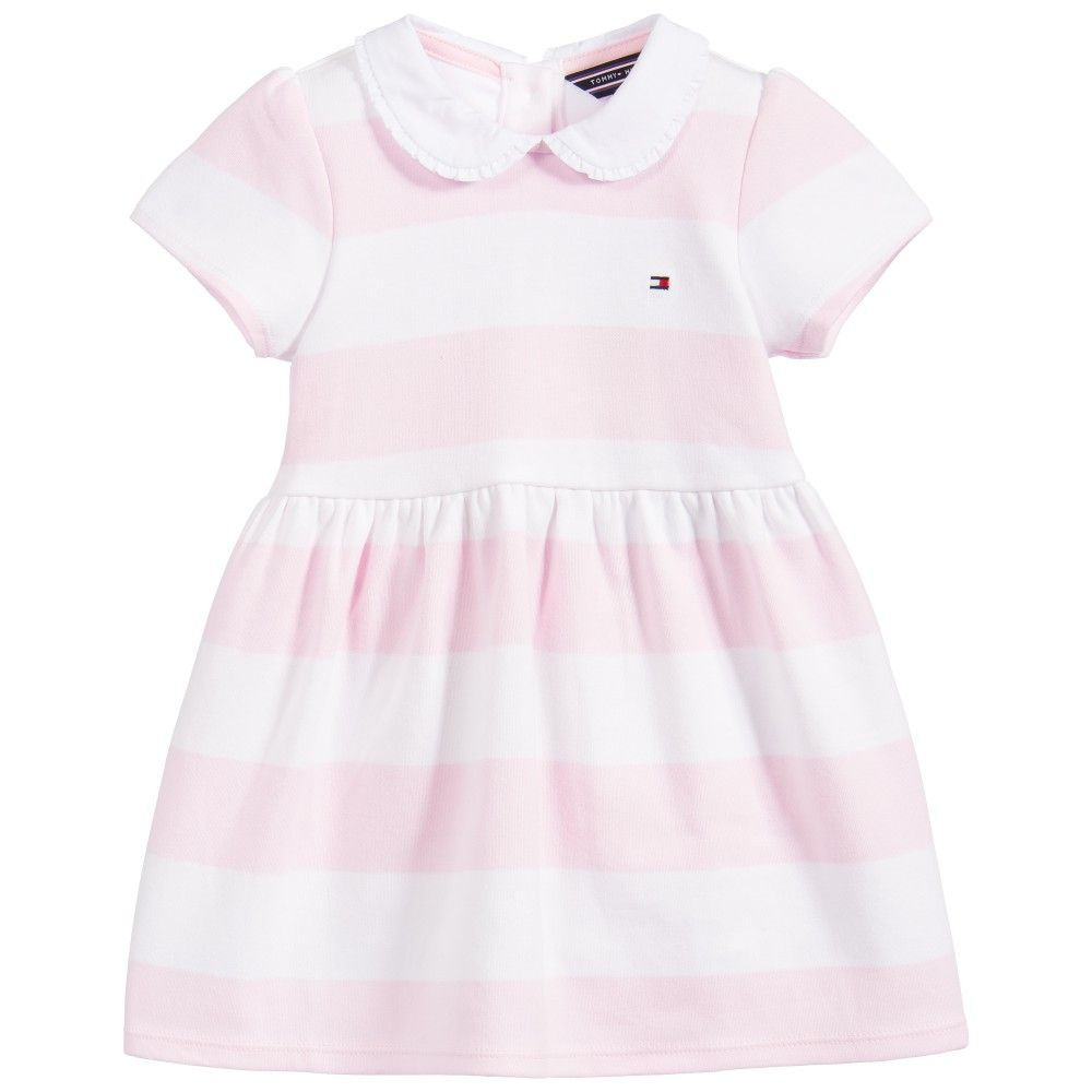 Baby Girls Pink Striped Cotton Dress & Knickers