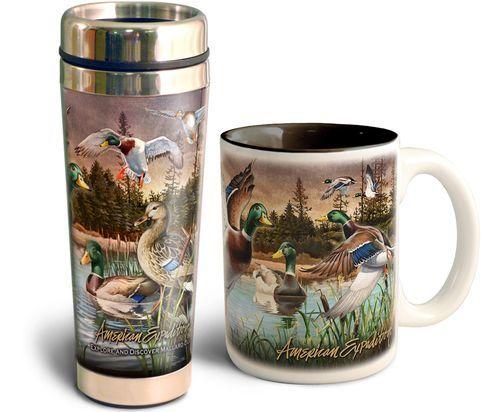 American Expedition Mallard Duck Collage Home & Away Stoneware/Steel Mug Set