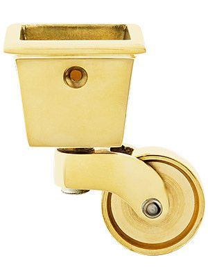 Large Square Cup Caster With 1 1 4 Brass Wheel Antique Hardware