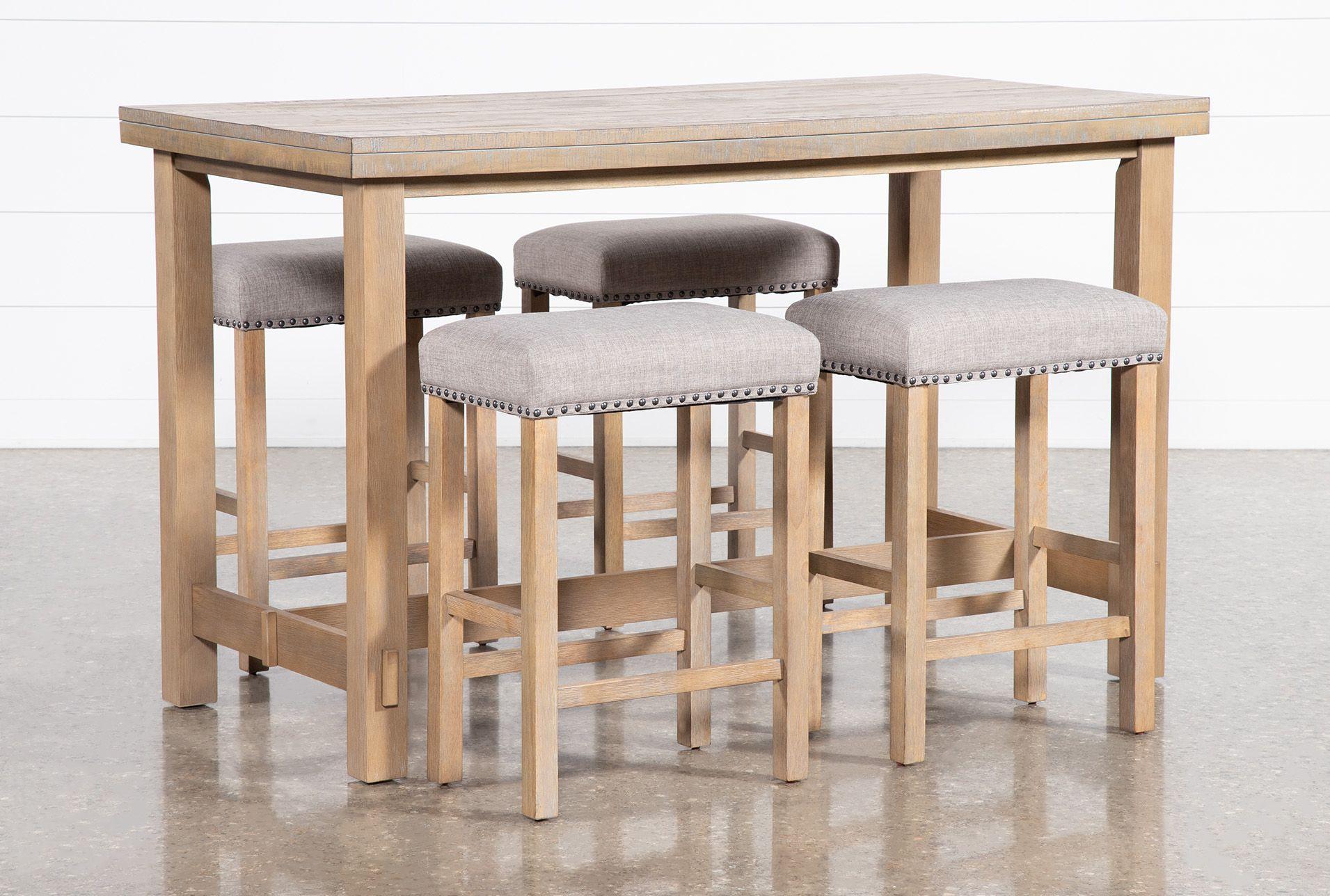Fairview 5 Piece Counter Set Natural Wood 19 W X 12 5 D X
