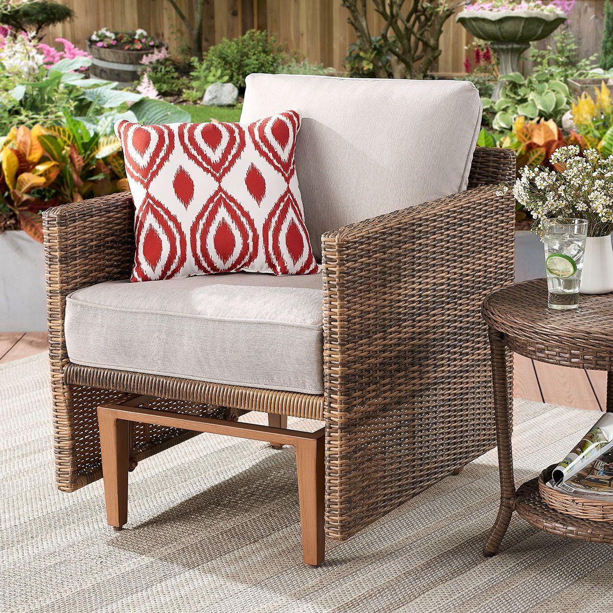 Davenport Patio Furniture.Patio Garden Outdoor Living Glider Chair Beige Cushions