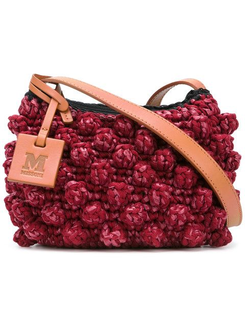 M MISSONI knitted shoulder bag. #mmissoni #bags #shoulder bags #polyester #knit #cotton #