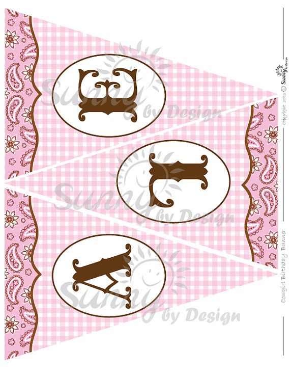 Cowgirl printable party banner