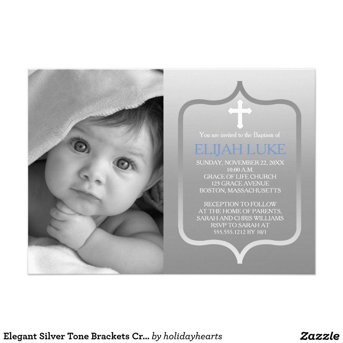 Elegant Silver Tone Brackets Cross Photo Baptism 5x7 Paper