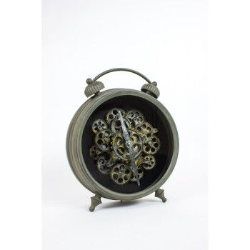 Double Bell Vintage Clock With Moving Cogs