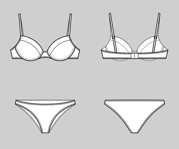 7964bd9a7c Bra and underwear vector fashion flat sketch