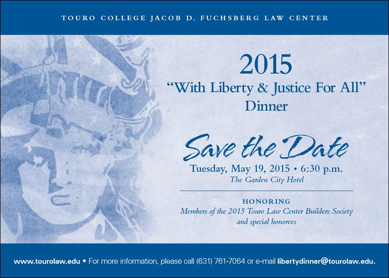 Save the Date! Our Annual Liberty and Justice for All Dinner will be on Tuesday May 19th, 2015!